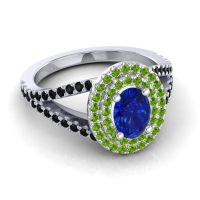 Ornate Oval Halo Dhala Blue Sapphire Ring with Peridot and Black Onyx in 18k White Gold