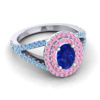 Ornate Oval Halo Dhala Blue Sapphire Ring with Pink Tourmaline and Swiss Blue Topaz in Palladium
