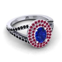 Ornate Oval Halo Dhala Blue Sapphire Ring with Ruby and Black Onyx in Platinum