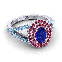 Ornate Oval Halo Dhala Blue Sapphire Ring with Ruby and Swiss Blue Topaz in Platinum