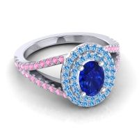 Ornate Oval Halo Dhala Blue Sapphire Ring with Swiss Blue Topaz and Pink Tourmaline in Platinum