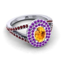 Ornate Oval Halo Dhala Citrine Ring with Amethyst and Garnet in Platinum