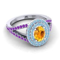 Ornate Oval Halo Dhala Citrine Ring with Aquamarine and Amethyst in 14k White Gold