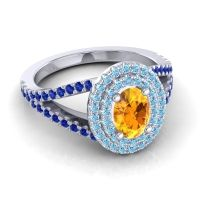 Ornate Oval Halo Dhala Citrine Ring with Aquamarine and Blue Sapphire in 14k White Gold