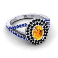Ornate Oval Halo Dhala Citrine Ring with Black Onyx and Blue Sapphire in 18k White Gold