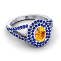 Ornate Oval Halo Dhala Citrine Ring with Blue Sapphire in Platinum