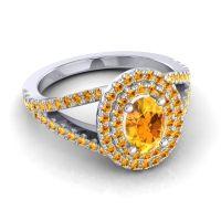 Ornate Oval Halo Dhala Citrine Ring in 14k White Gold