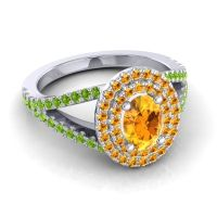 Ornate Oval Halo Dhala Citrine Ring with Peridot in 14k White Gold