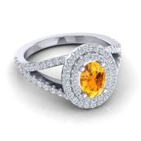 Citrine Ornate Oval Halo Dhala Ring with Diamond in 14k White Gold