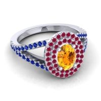 Ornate Oval Halo Dhala Citrine Ring with Ruby and Blue Sapphire in 14k White Gold