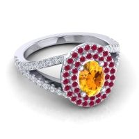 Ornate Oval Halo Dhala Citrine Ring with Ruby and Diamond in 14k White Gold