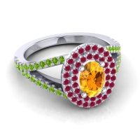 Ornate Oval Halo Dhala Citrine Ring with Ruby and Peridot in Platinum
