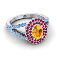 Ornate Oval Halo Dhala Citrine Ring with Ruby and Swiss Blue Topaz in Platinum