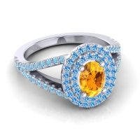 Ornate Oval Halo Dhala Citrine Ring with Swiss Blue Topaz and Aquamarine in 18k White Gold