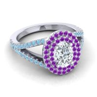 Ornate Oval Halo Dhala Diamond Ring with Amethyst and Aquamarine in Platinum