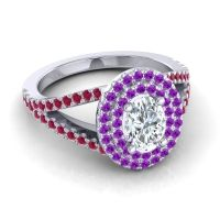 Ornate Oval Halo Dhala Diamond Ring with Amethyst and Ruby in 14k White Gold