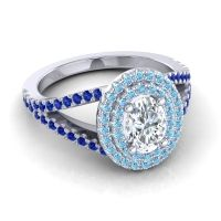 Ornate Oval Halo Dhala Diamond Ring with Aquamarine and Blue Sapphire in Platinum
