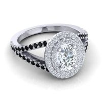 Ornate Oval Halo Dhala Diamond Ring with Black Onyx in Palladium