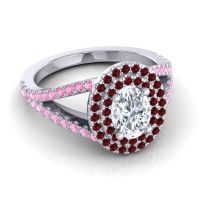 Ornate Oval Halo Dhala Diamond Ring with Garnet and Pink Tourmaline in Platinum