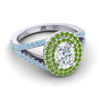Ornate Oval Halo Dhala Diamond Ring with Peridot and Aquamarine in 14k White Gold
