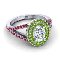 Ornate Oval Halo Dhala Diamond Ring with Peridot and Ruby in 14k White Gold