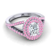 Ornate Oval Halo Dhala Diamond Ring with Pink Tourmaline in Platinum