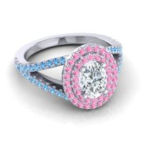 Ornate Oval Halo Dhala Diamond Ring with Pink Tourmaline and Swiss Blue Topaz in 18k White Gold