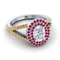 Ornate Oval Halo Dhala Diamond Ring with Ruby and Citrine in Platinum