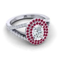 Ornate Oval Halo Dhala Diamond Ring with Ruby in 14k White Gold