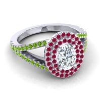 Ornate Oval Halo Dhala Diamond Ring with Ruby and Peridot in Palladium
