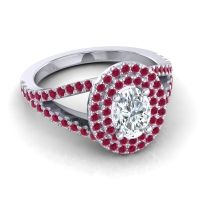 Ornate Oval Halo Dhala Diamond Ring with Ruby in Palladium