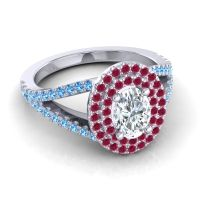 Ornate Oval Halo Dhala Diamond Ring with Ruby and Swiss Blue Topaz in 14k White Gold