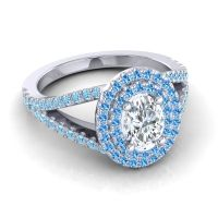 Ornate Oval Halo Dhala Diamond Ring with Swiss Blue Topaz and Aquamarine in Palladium