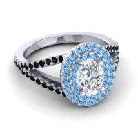 Ornate Oval Halo Dhala Diamond Ring with Swiss Blue Topaz and Black Onyx in Palladium