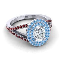 Ornate Oval Halo Dhala Diamond Ring with Swiss Blue Topaz and Garnet in Palladium