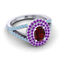 Ornate Oval Halo Dhala Garnet Ring with Amethyst and Aquamarine in Platinum