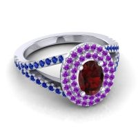 Ornate Oval Halo Dhala Garnet Ring with Amethyst and Blue Sapphire in 18k White Gold