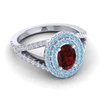 Ornate Oval Halo Dhala Garnet Ring with Aquamarine and Diamond in 18k White Gold