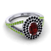 Ornate Oval Halo Dhala Garnet Ring with Black Onyx and Peridot in 14k White Gold