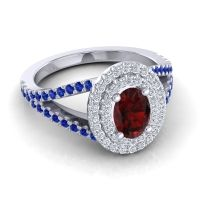 Ornate Oval Halo Dhala Garnet Ring with Diamond and Blue Sapphire in Palladium