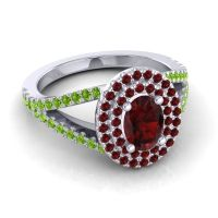 Ornate Oval Halo Dhala Garnet Ring with Peridot in Platinum