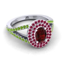 Ornate Oval Halo Dhala Garnet Ring with Ruby and Peridot in 18k White Gold