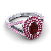 Ornate Oval Halo Dhala Garnet Ring with Ruby and Pink Tourmaline in 14k White Gold