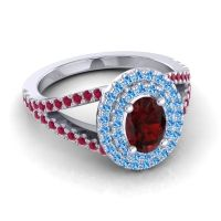 Ornate Oval Halo Dhala Garnet Ring with Swiss Blue Topaz and Ruby in Platinum