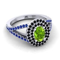 Ornate Oval Halo Dhala Peridot Ring with Black Onyx and Blue Sapphire in 18k White Gold