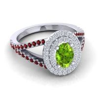 Ornate Oval Halo Dhala Peridot Ring with Diamond and Garnet in Platinum