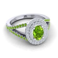 Ornate Oval Halo Dhala Peridot Ring with Diamond in Platinum