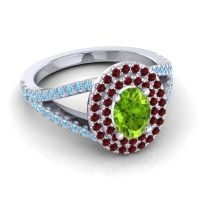 Ornate Oval Halo Dhala Peridot Ring with Garnet and Aquamarine in 14k White Gold