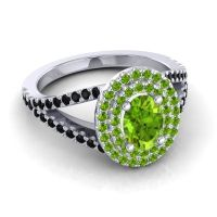 Ornate Oval Halo Dhala Peridot Ring with Black Onyx in 18k White Gold