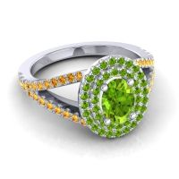 Ornate Oval Halo Dhala Peridot Ring with Citrine in 14k White Gold